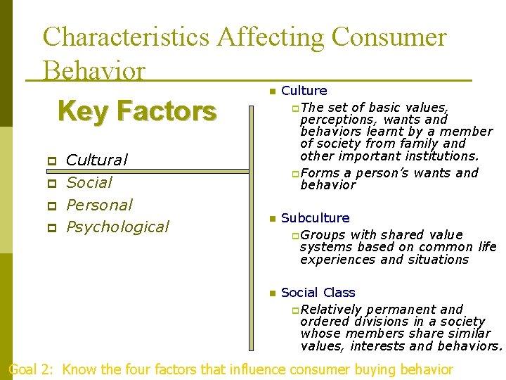 Characteristics Affecting Consumer Behavior Culture The set of basic values, Key Factors perceptions, wants
