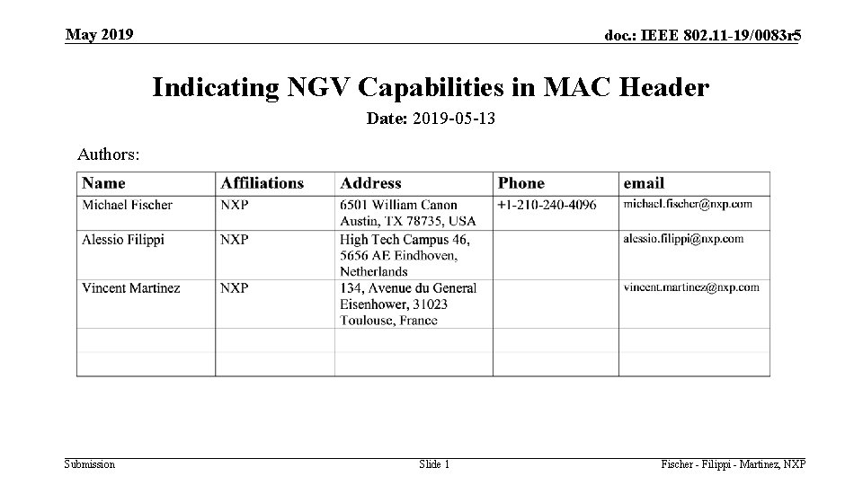 May 2019 doc. : IEEE 802. 11 -19/0083 r 5 Indicating NGV Capabilities in
