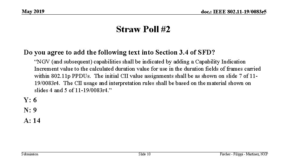 May 2019 doc. : IEEE 802. 11 -19/0083 r 5 Straw Poll #2 Do