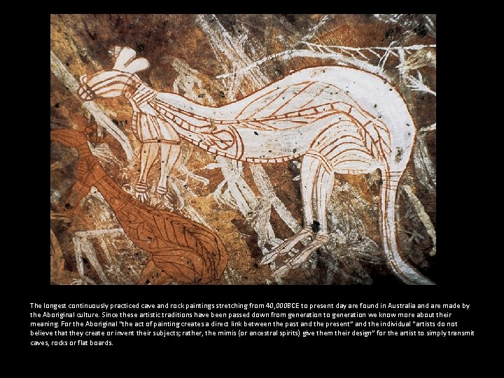 The longest continuously practiced cave and rock paintings stretching from 40, 000 BCE to