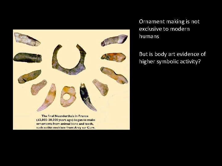 Ornament making is not exclusive to modern humans But is body art evidence of
