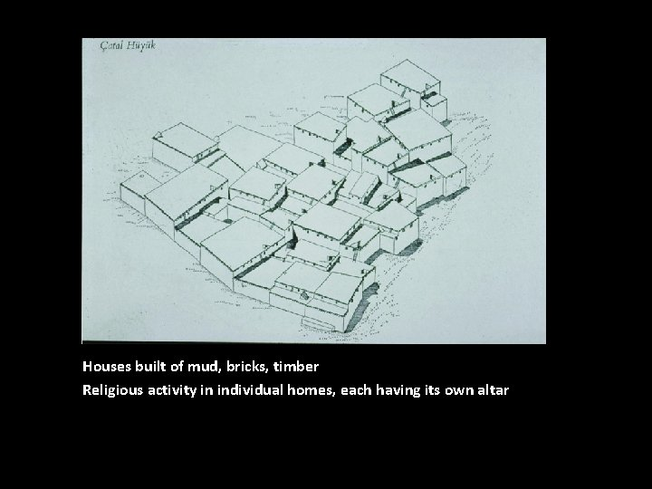 Houses built of mud, bricks, timber Religious activity in individual homes, each having its