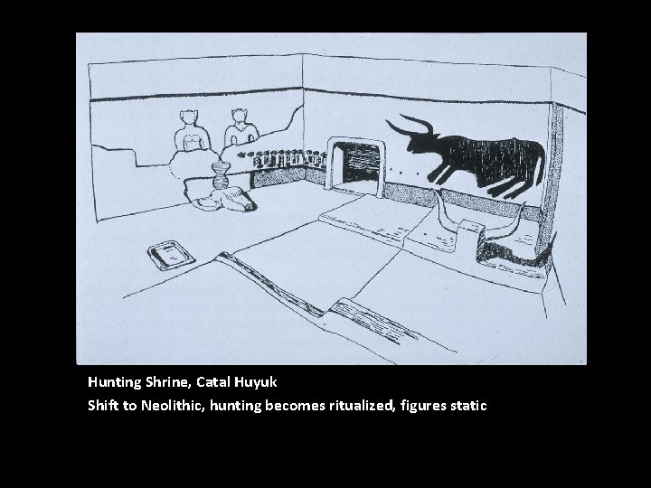 Hunting Shrine, Catal Huyuk Shift to Neolithic, hunting becomes ritualized, figures static