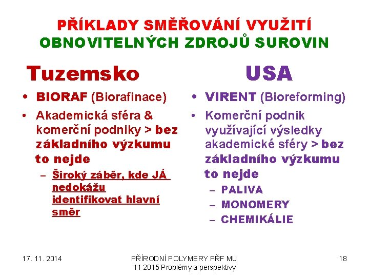 PŘÍKLADY SMĚŘOVÁNÍ VYUŽITÍ OBNOVITELNÝCH ZDROJŮ SUROVIN Tuzemsko • BIORAF (Biorafinace) • Akademická sféra &