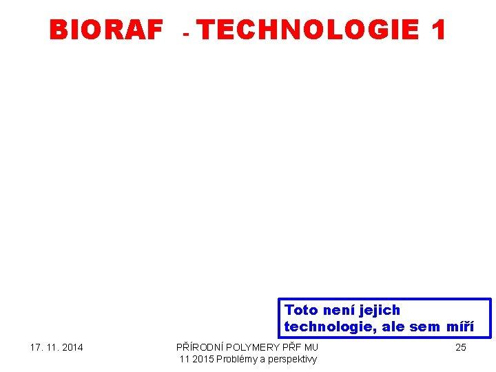 BIORAF - TECHNOLOGIE 1 Toto není jejich technologie, ale sem míří 17. 11. 2014