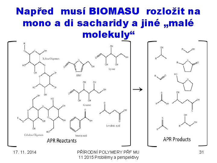 "Napřed musí BIOMASU rozložit na mono a di sacharidy a jiné ""malé molekuly"" 17."