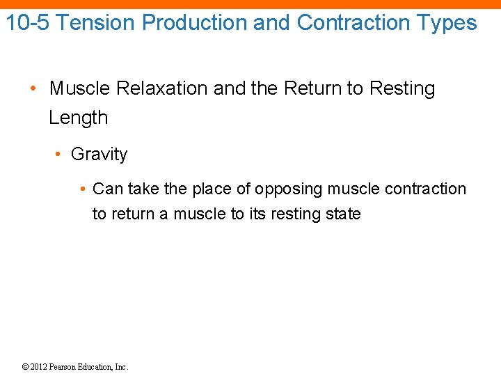 10 -5 Tension Production and Contraction Types • Muscle Relaxation and the Return to
