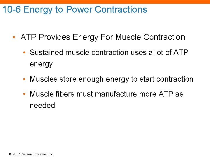 10 -6 Energy to Power Contractions • ATP Provides Energy For Muscle Contraction •