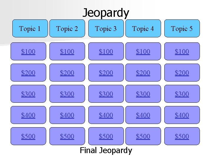 Jeopardy Topic 1 Topic 2 Topic 3 Topic 4 Topic 5 $100 $100 $200
