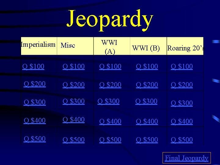 Jeopardy Imperialism Misc. WWI (A) WWI (B) Q $100 Q $100 Q $200 Q