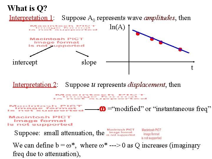 What is Q? Interpretation 1: intercept Interpretation 2: Suppose A 0 represents wave amplitudes,