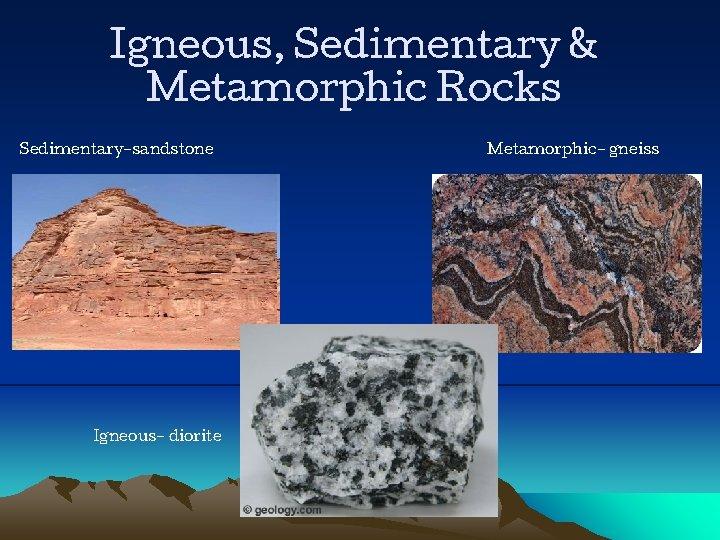 Igneous, Sedimentary & Metamorphic Rocks Sedimentary-sandstone Igneous- diorite Metamorphic- gneiss