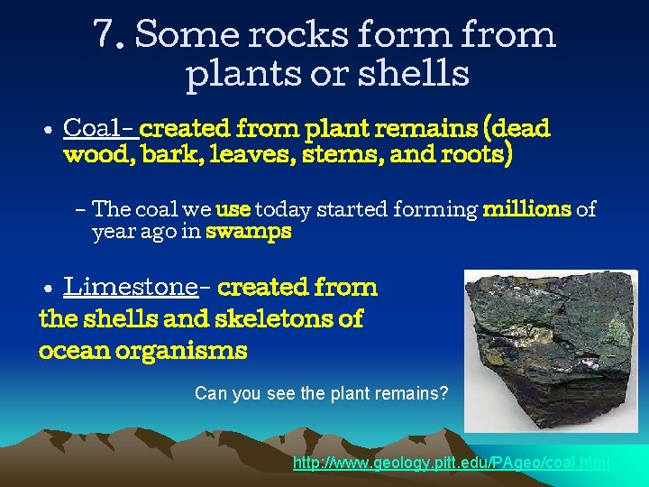 7. Some rocks form from plants or shells • Coal- created from plant remains