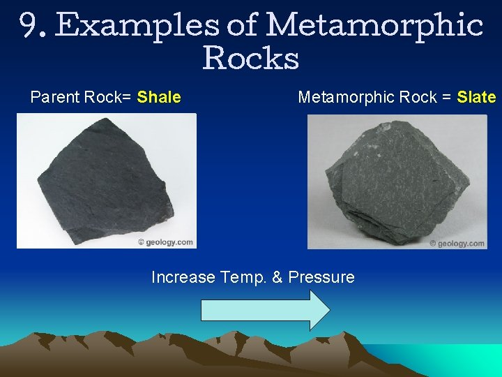 9. Examples of Metamorphic Rocks Parent Rock= Shale Metamorphic Rock = Slate Increase Temp.