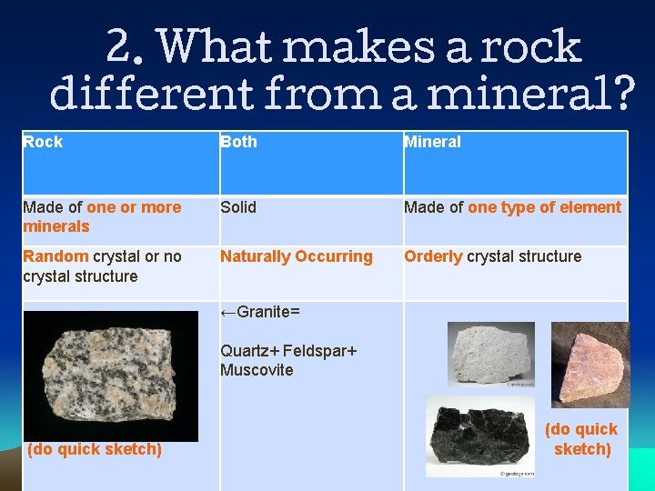 2. What makes a rock different from a mineral? Rock Both Mineral Made of