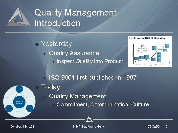 Quality Management Introduction u Yesterday l Quality Assurance u l u ISO 9001 first