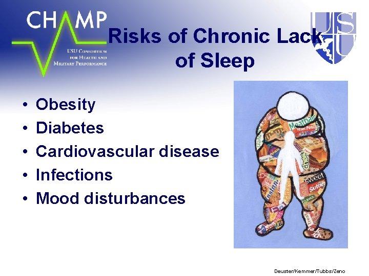 Risks of Chronic Lack of Sleep • • • Obesity Diabetes Cardiovascular disease Infections