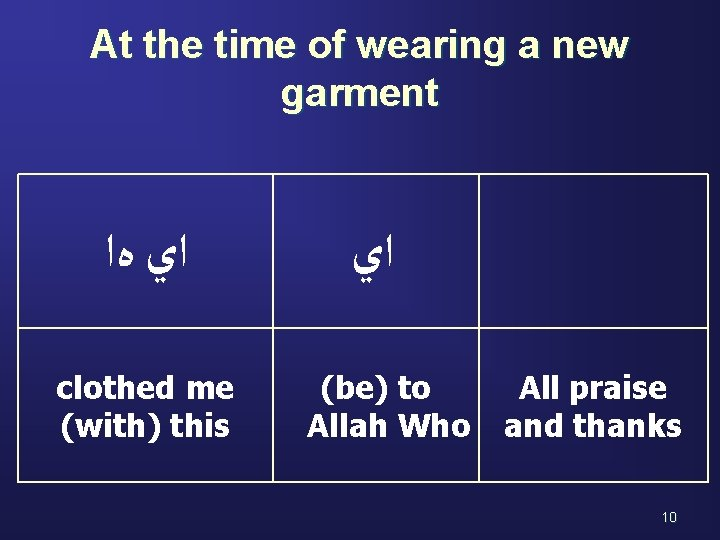 At the time of wearing a new garment ﺍﻱ ﻩﺍ clothed me (with) this