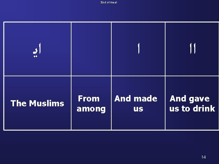 End of meal ﺍﻳ The Muslims ﺍ From And made among us ﺍﺍ And