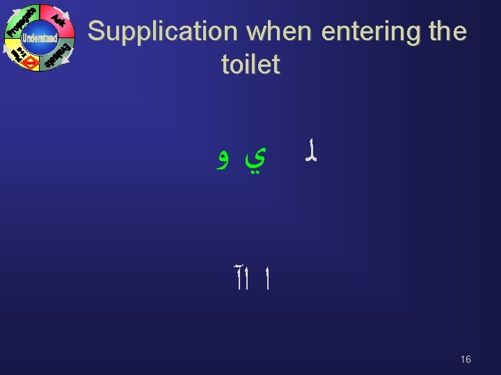 Supplication when entering the toilet ﻟ ﻱﻭ ﺍ ﺍآ 16