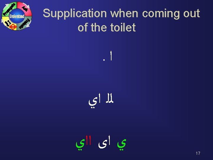 Supplication when coming out of the toilet . ﺍ ﻟﻠ ﺍﻱ ﻱ ﺍﻯ ﺍﺍﻱ
