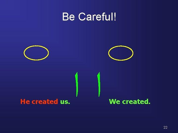 Be Careful! He created us. ﺍﺍ We created. 22
