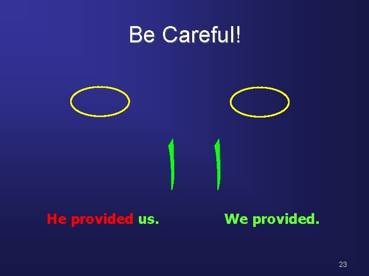 Be Careful! He provided us. ﺍﺍ We provided. 23