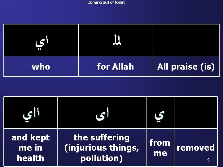 Coming out of toilet ﺍﻱ ﻟﻠ who for Allah ﺍ ﺍﻱ ﺍﻯ and kept
