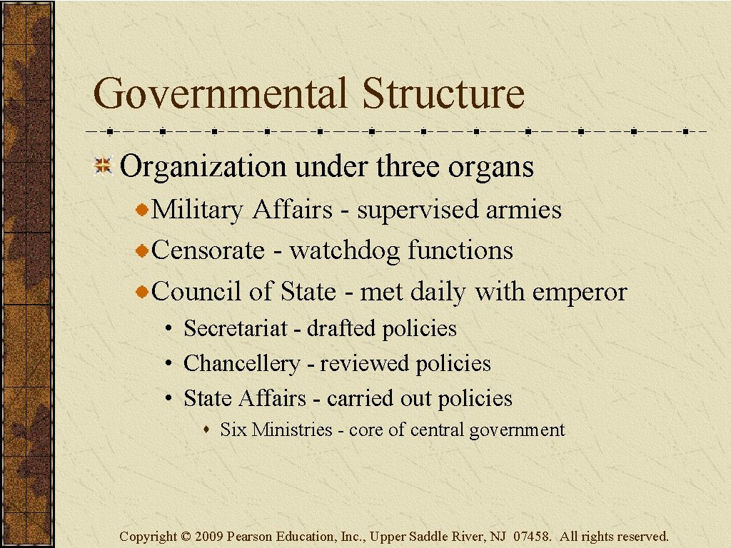 Governmental Structure Organization under three organs Military Affairs - supervised armies Censorate - watchdog