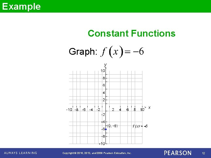 Example Constant Functions Graph: Copyright © 2016, 2012, and 2009 Pearson Education, Inc. 12