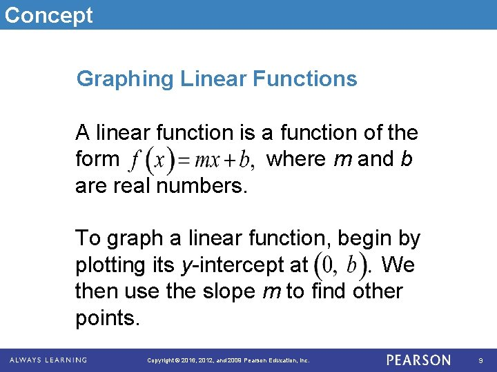 Concept Graphing Linear Functions A linear function is a function of the form where