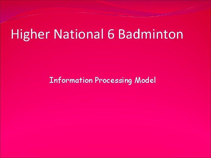 Higher National 6 Badminton Information Processing Model
