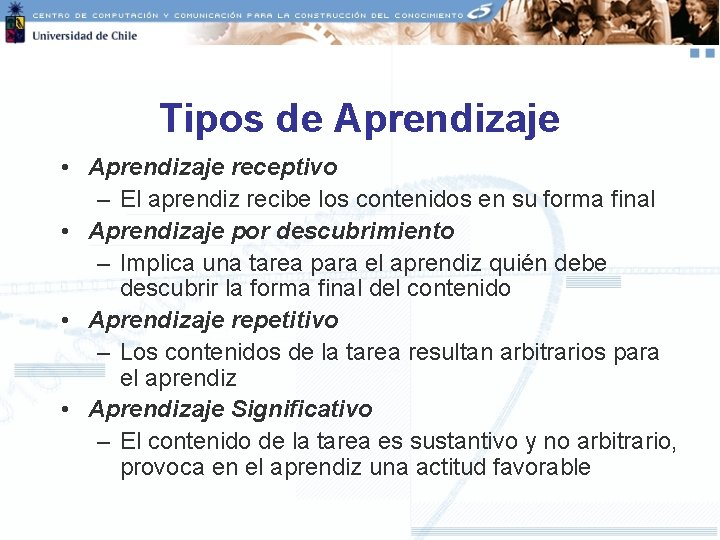 Tipos de Aprendizaje • Aprendizaje receptivo – El aprendiz recibe los contenidos en su