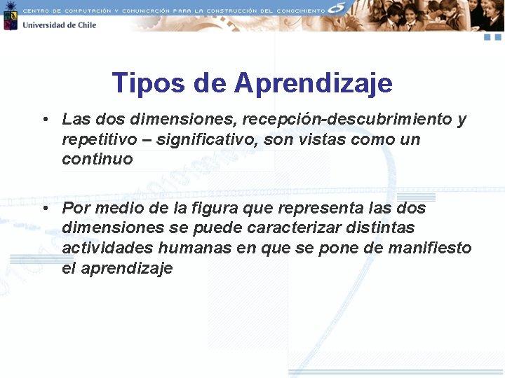 Tipos de Aprendizaje • Las dos dimensiones, recepción-descubrimiento y repetitivo – significativo, son vistas