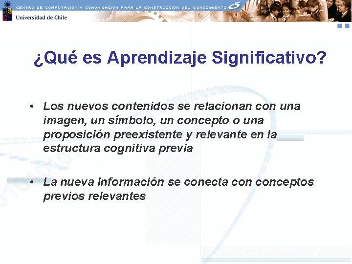 ¿Qué es Aprendizaje Significativo? • Los nuevos contenidos se relacionan con una imagen, un