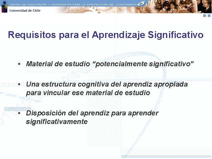 """Requisitos para el Aprendizaje Significativo • Material de estudio """"potencialmente significativo"""" • Una estructura"""