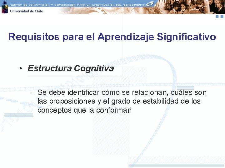 Requisitos para el Aprendizaje Significativo • Estructura Cognitiva – Se debe identificar cómo se
