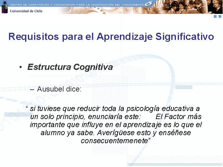 "Requisitos para el Aprendizaje Significativo • Estructura Cognitiva – Ausubel dice: "" si tuviese"