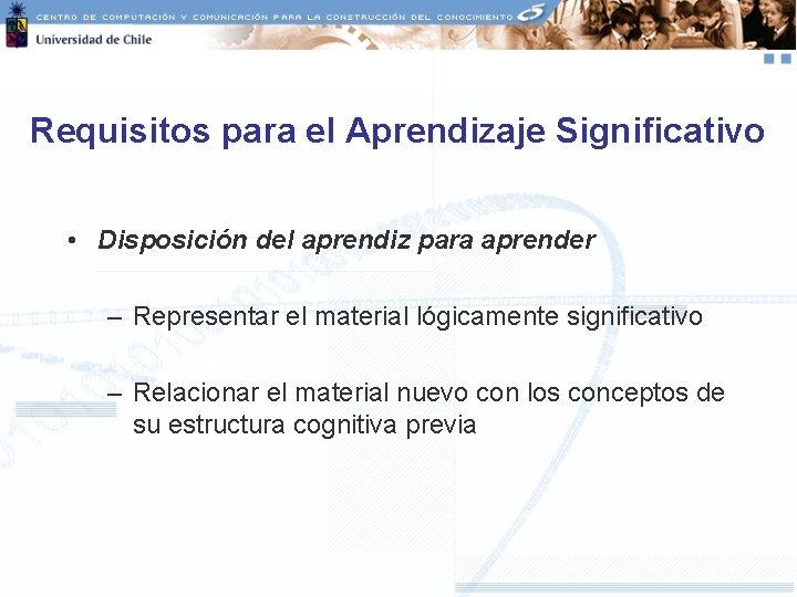 Requisitos para el Aprendizaje Significativo • Disposición del aprendiz para aprender – Representar el