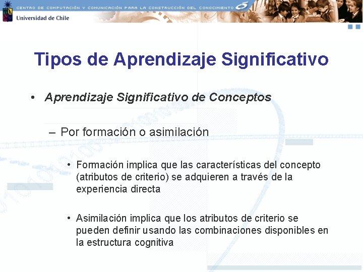 Tipos de Aprendizaje Significativo • Aprendizaje Significativo de Conceptos – Por formación o asimilación