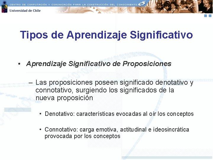 Tipos de Aprendizaje Significativo • Aprendizaje Significativo de Proposiciones – Las proposiciones poseen significado