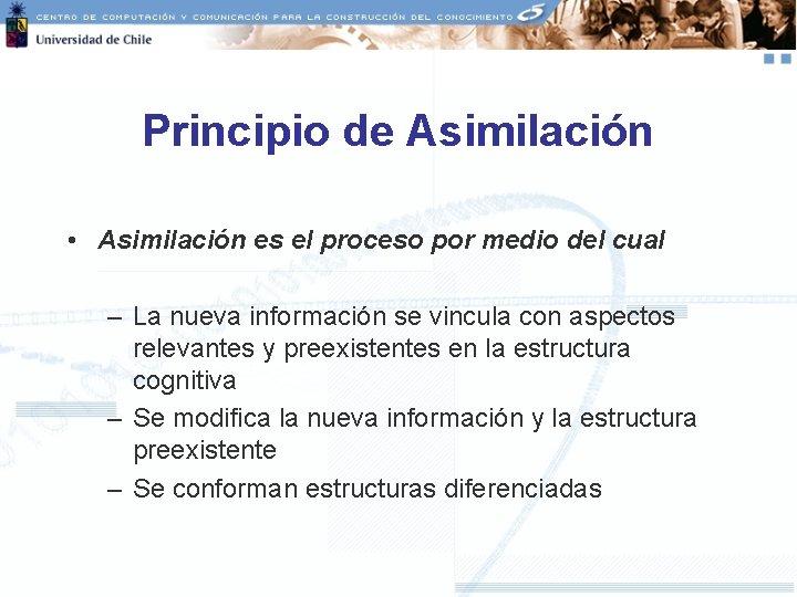 Principio de Asimilación • Asimilación es el proceso por medio del cual – La