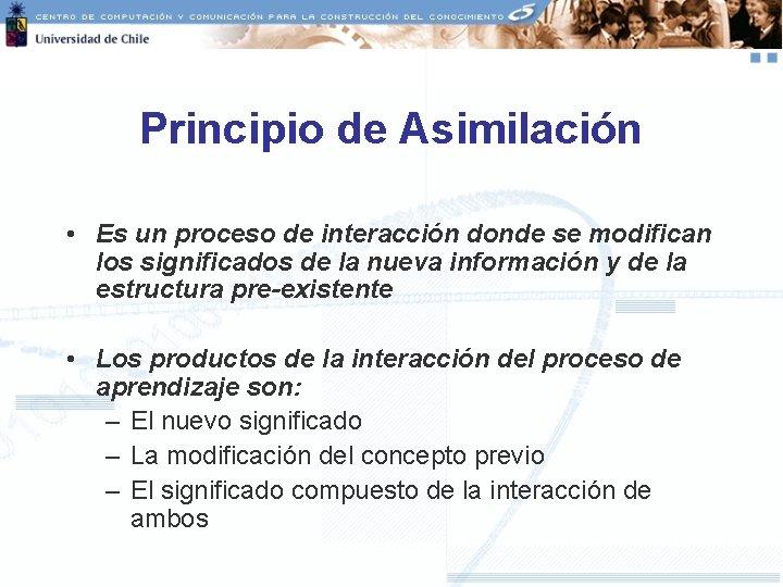 Principio de Asimilación • Es un proceso de interacción donde se modifican los significados