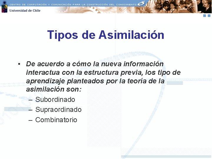 Tipos de Asimilación • De acuerdo a cómo la nueva información interactua con la
