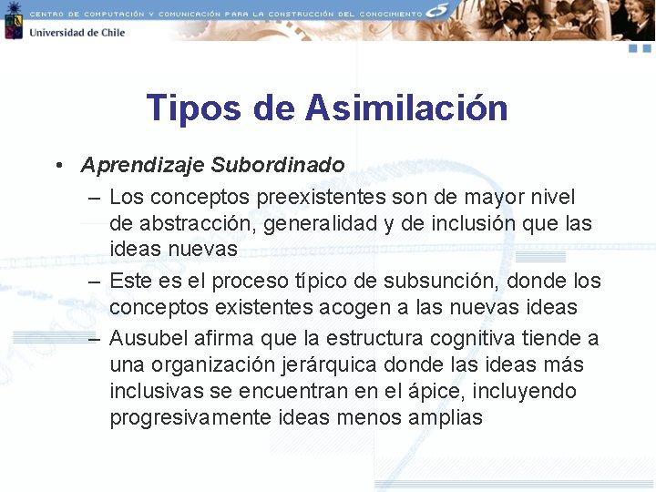 Tipos de Asimilación • Aprendizaje Subordinado – Los conceptos preexistentes son de mayor nivel