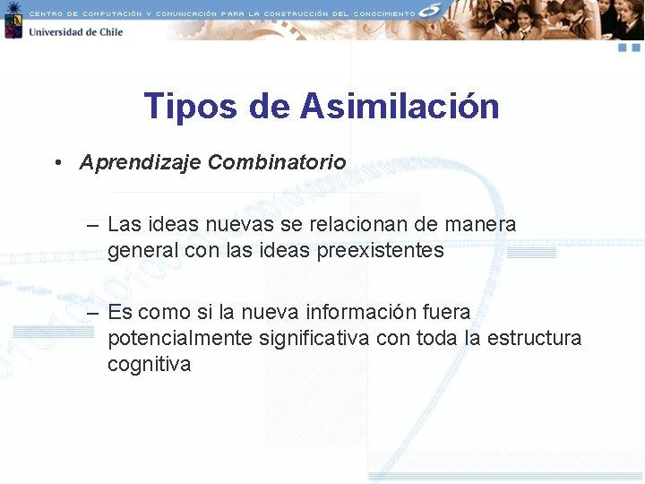 Tipos de Asimilación • Aprendizaje Combinatorio – Las ideas nuevas se relacionan de manera