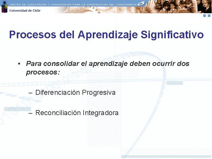 Procesos del Aprendizaje Significativo • Para consolidar el aprendizaje deben ocurrir dos procesos: –