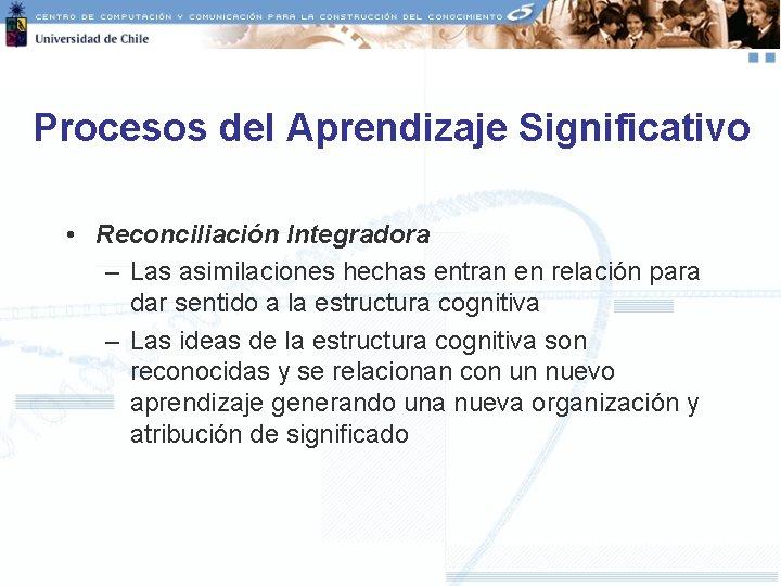 Procesos del Aprendizaje Significativo • Reconciliación Integradora – Las asimilaciones hechas entran en relación