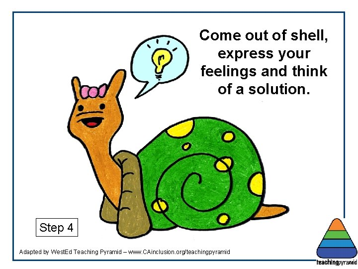Come out of shell, express your feelings and think of a solution. Step 4