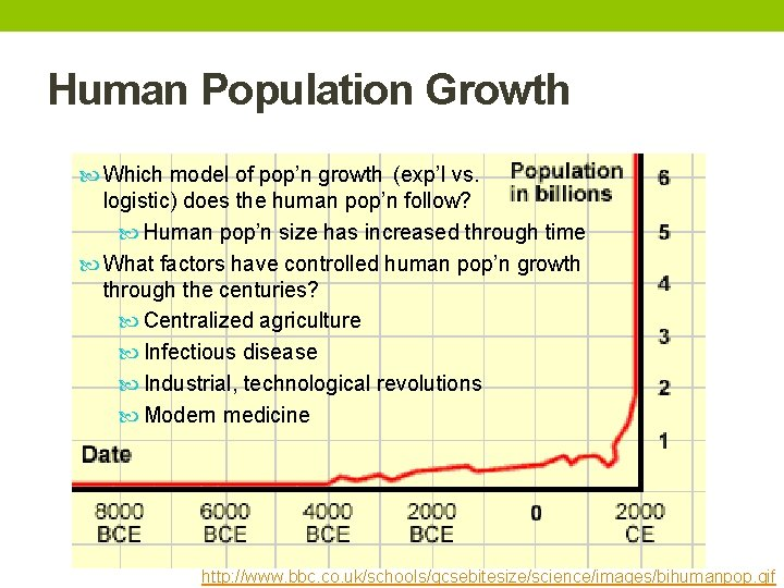 Human Population Growth Which model of pop'n growth (exp'l vs. logistic) does the human
